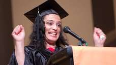 Student speaker April Lowry reacts as she speaks