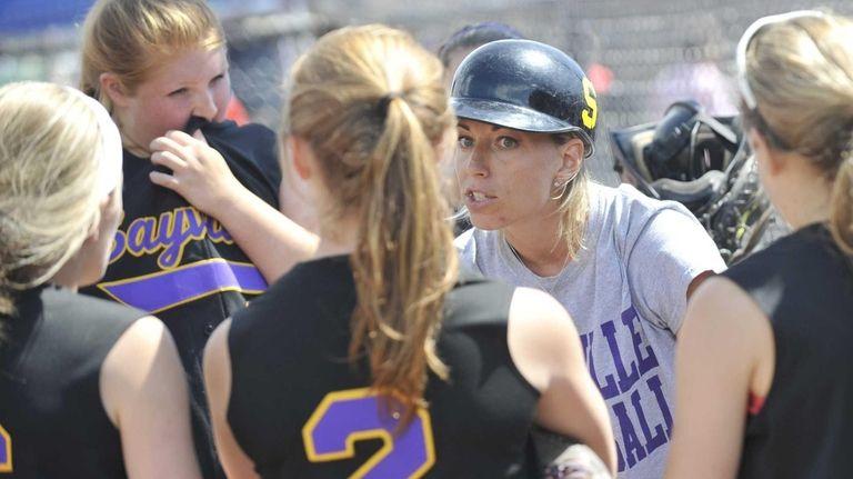 Sayville head coach Tiffany Rowan instucts her players