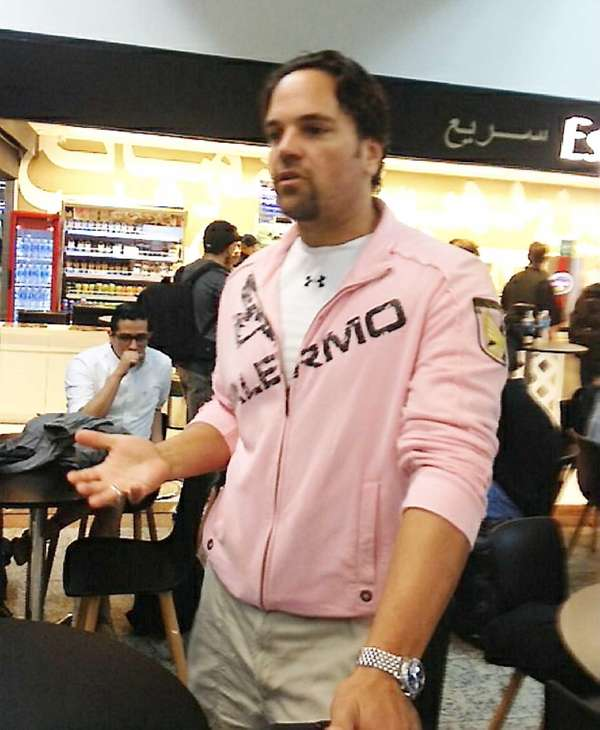 Mike Piazza is seen at an airport in