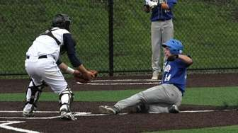 Louis Antos of West Islip gets thrown out