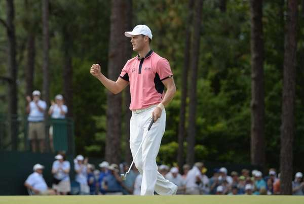 Martin Kaymer celebrates an eagle on the fifth