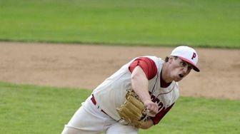 Pierson/Bridgehampton's Forrest Loesch pitches in their game against