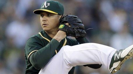 The Oakland Athletics' Scott Kazmir works against the
