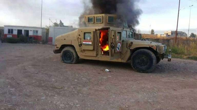 An armored vehicle belonging to Iraqi security forces