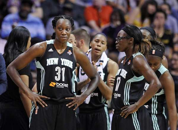 The Liberty's Tina Charles (31) looks toward the