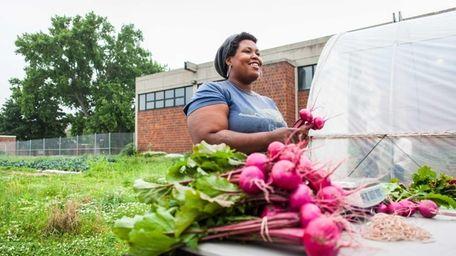 Kadeesha Williams harvests beets on June 12, 2014