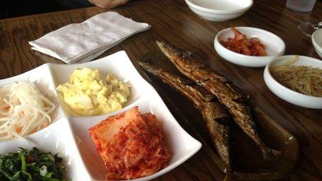 A generous banchan (assortment of small plates) precedes