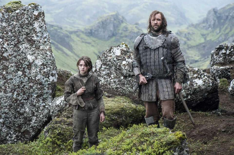 "Maisie Williams and Rory McCann in ""Game of"