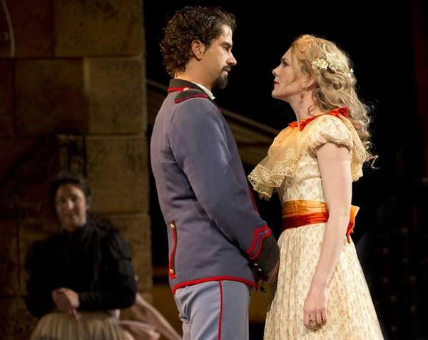 Lily Rabe and Hamish Linklater in The Public