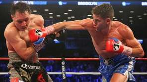 Chris Algieri (blue trunks), from Huntington, defeated Ruslan