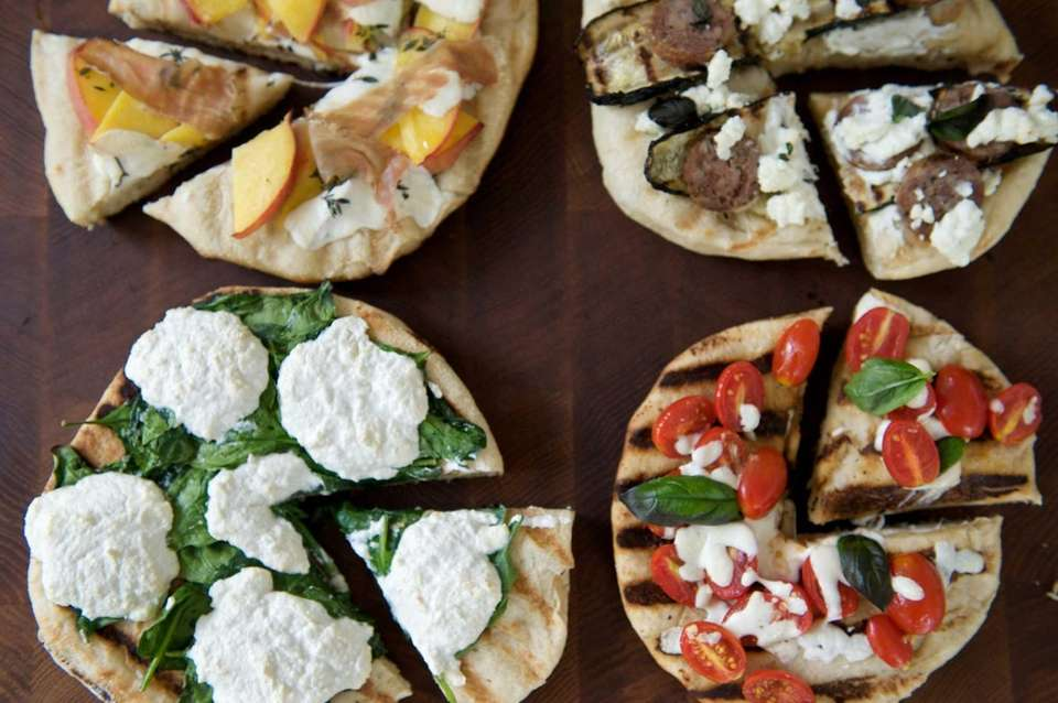 Clockwise from top left; grilled pizzas with peaches