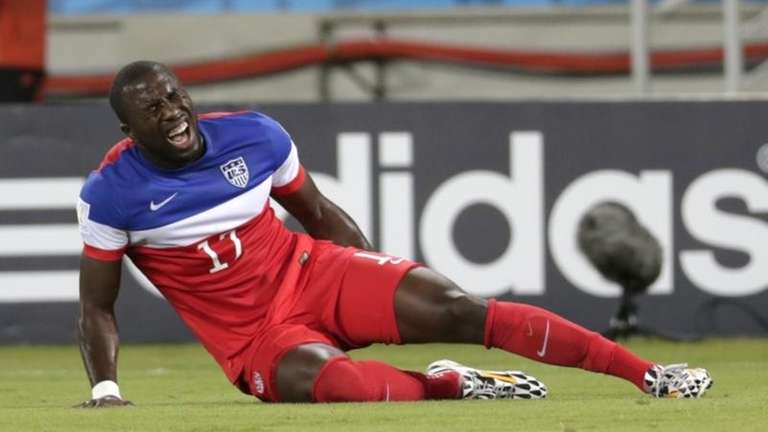 United States' Jozy Altidore grimaces after pulling up
