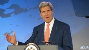 Secretary of State John Kerry addresses the Our