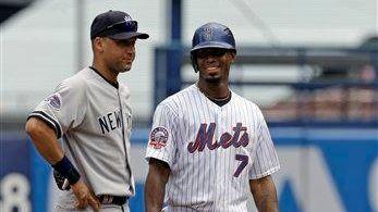 The Yankees' Derek Jeter is seen with then-Mets