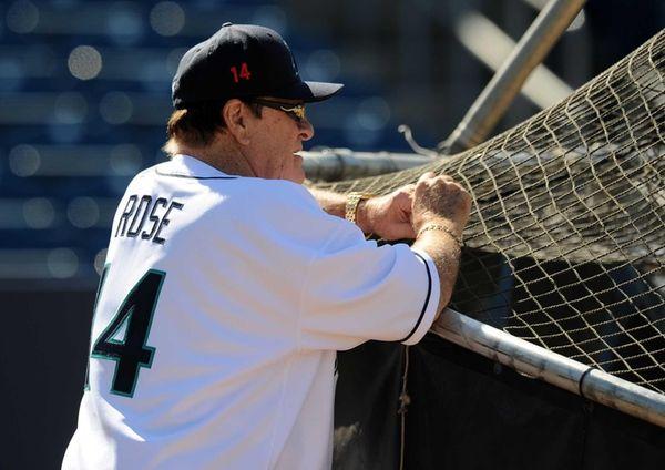 Former Major League Baseball player Pete Rose looks