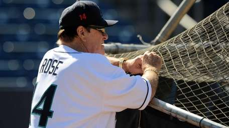 Former Major League Baseball player Pete Rose looks