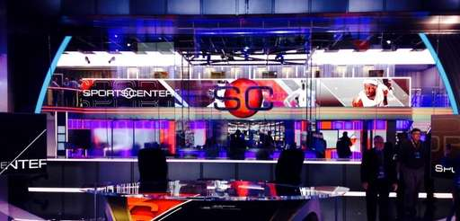 "ESPN's new ""SportsCenter"" set in Bristol, Conn., on"