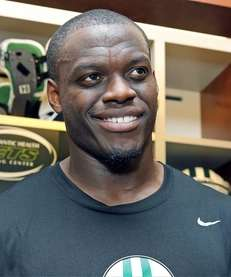 The Jets' Stephen Hill talks to the media