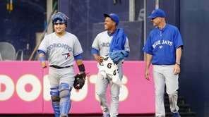 Marcus Stroman of the Toronto Blue Jays walks