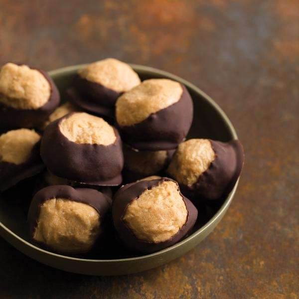 The chocolate peanut butter buckeyes can be found