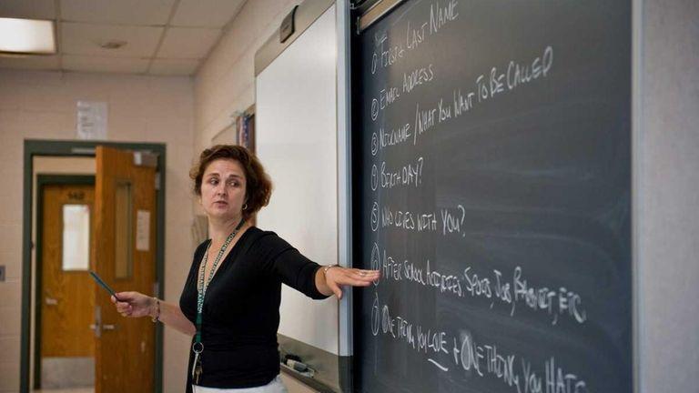 Teacher in a classroom.