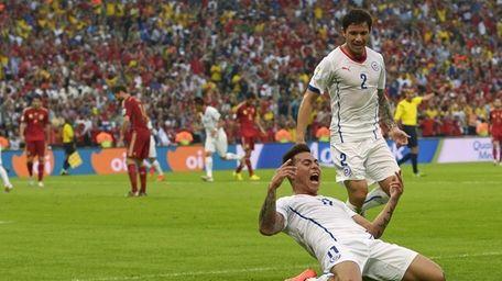 Chile's Eduardo Vargas celebrates after scoring the opening