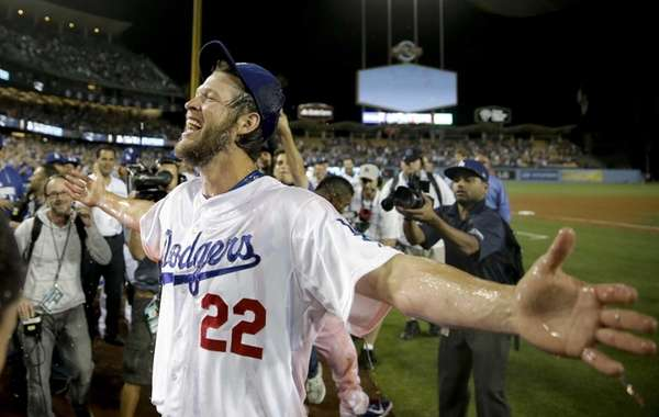 Los Angeles Dodgers starting pitcher Clayton Kershaw celebrates
