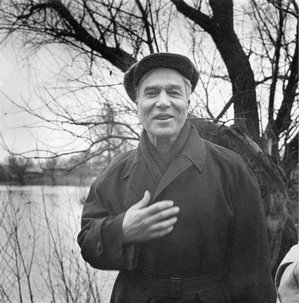 Writer Boris Pasternak near his home in the