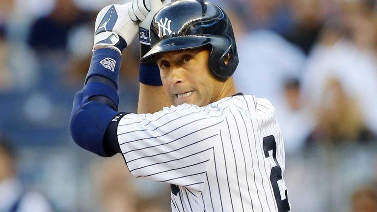Derek Jeter of the Yankees prepares to bat