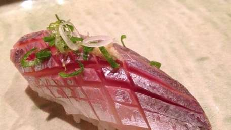 At Taka Sushi in Westbury, aji (Spanish mackerel)