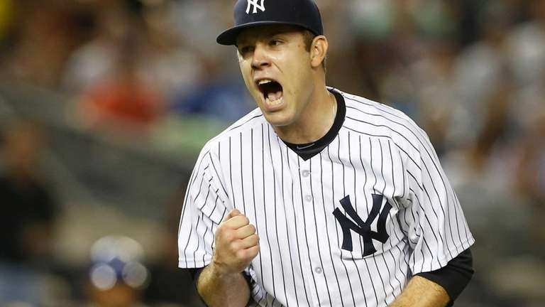 David Phelps of the Yankees reacts after the