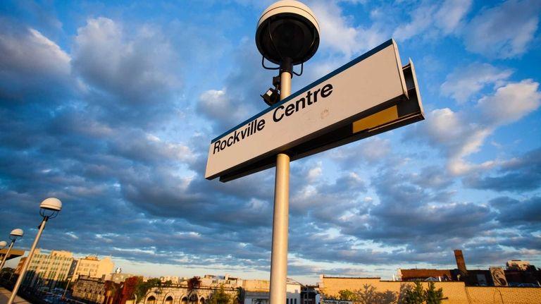 The Rockville Centre train station at dusk on