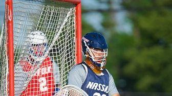 Nassau All-Star Goalie Gavin Tam (22) attempts to