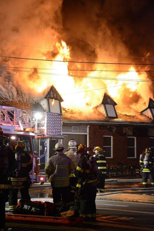 At least nine fire departments battled a blaze
