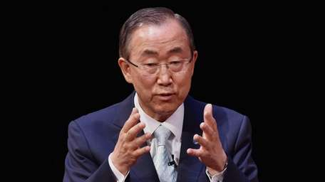 United Nations Secretary General Ban Ki-Moon speaks on