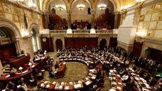 Senators debate in the Senate Chamber at the