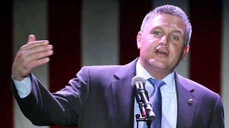 John Jay Lavalle, Suffolk Republican chairman, addresses the