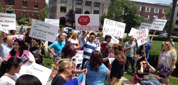 Protesters gather at the Nassau County executive and