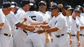Former Yankee Reggie Jackson #44 is introduced during