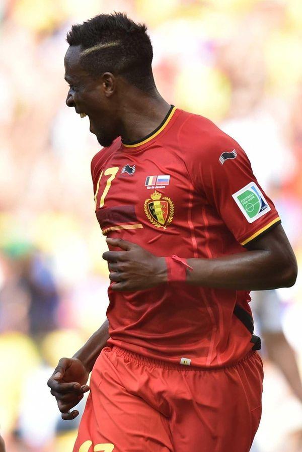 Belgium forward Divock Origi celebrates after scoring during