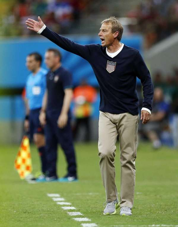 United States head coach Juergen Klinsmann shouts out