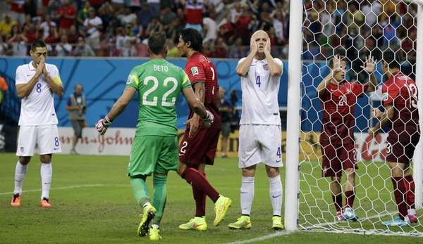 United States' Michael Bradley reacts after his shot