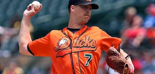 Duck's starting pitcher John Brownell delivers in a