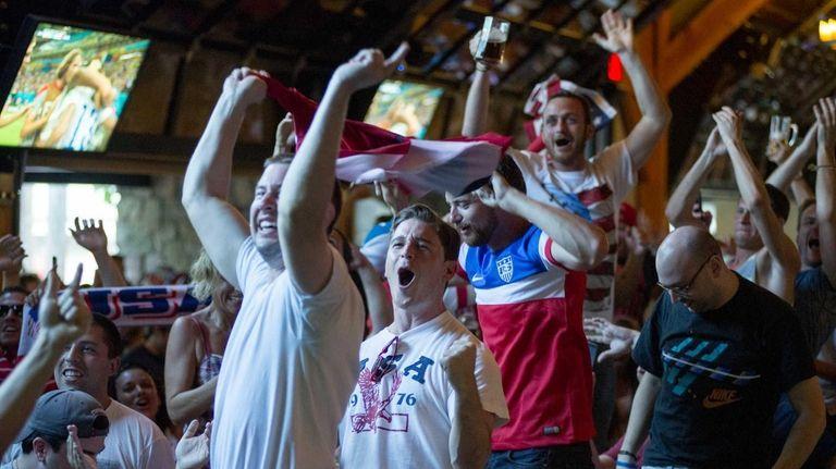 Soccer fans gathered at Plattduetsche Park Restaurant to