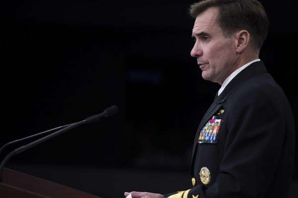 U.S. Pentagon Press Secretary Navy Rear Admiral John