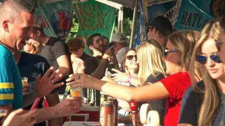 A crowd gathers at the third-annual Beer Fields