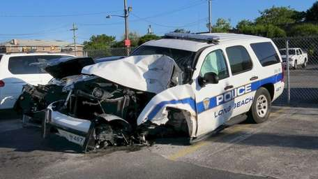 A Long Beach police vehicle was involved in