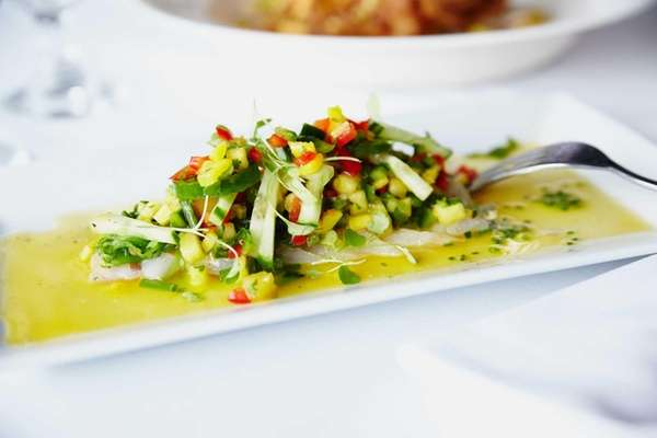 Fluke crudo is served with mango and roasted