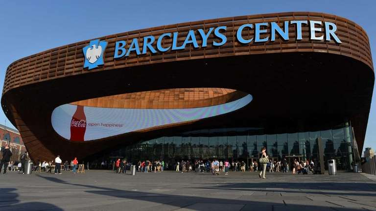 An exterior view of the Barclays Center before