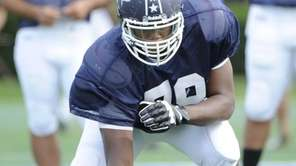 Offensive tackle Malcolm Pridgeon of Central Islip takes